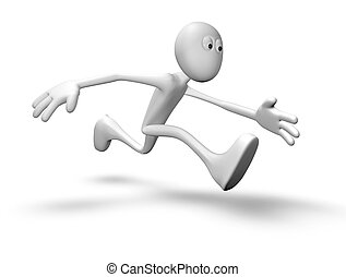 runner - running white guy - 3d illustration