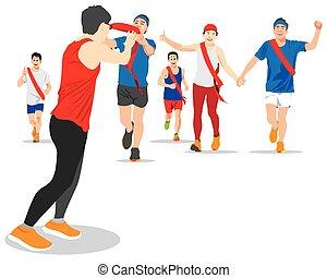 runner., ekiden, εφεδρεία , γεννημένος , πάνω , επόμενος , δικό τουs , ιαπωνία , μαραθώνας , χέρι , αόρ. του be , ζώνη , δρομέας