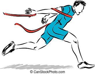 runner finish line vector illustration