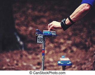 Runner found checkpoint hidden in forest. Orienteering sports.