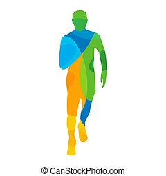 Runner. Front view. Abstract colorful vector illustration....