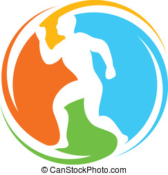 runner - healthy lifestyle icon - abstract runner - healthy...