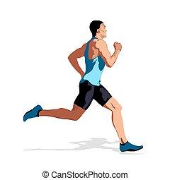 Runner illustration. Vector running man in blue jersey. Run