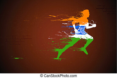 Runner in Indian Tricolor - illustration of runner in grungy...