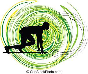 Runner in start position Illustration