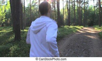 Runner in Sunny Park Slow Motion