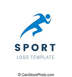 Runner logo. Fast abstract running man. Vector illustration stylized athlete figure