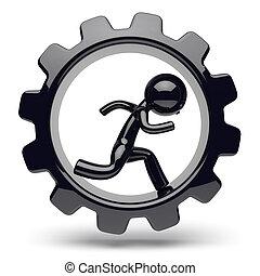 Runner man character gearwheel gear wheel businessman