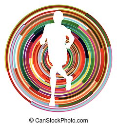 Runner man silhouette over abstract background vector concept