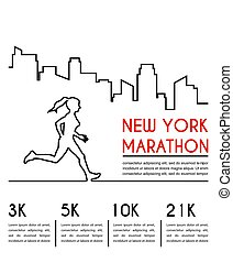 runner., maraton, afisz, wyścigi, sylwetka, projektować, samica, kreska