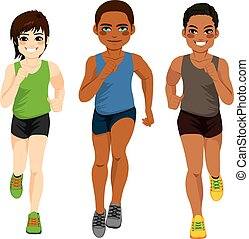 Healthy diverse young runner men of different ethnicity