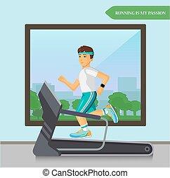 Runner men running on the treadmill in fitness sport center.
