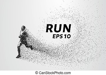 Runner of the particles. Runner breaks down into small molecules. Runner consists of small circles and dots. Vector illustration