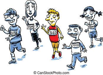 Runner Pee - A cartoon man in a running race suddenly needs...
