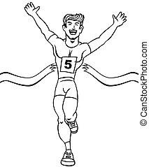 Runner Reaches Finish Line Art - Cartoon of a man reaching...