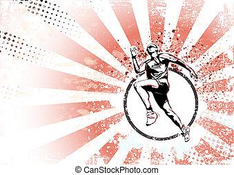 runner retro poster background