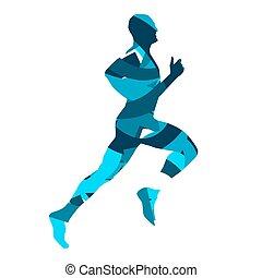 Runner. Running man, blue vector silhouette
