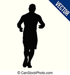 Runner silhouette on a white background