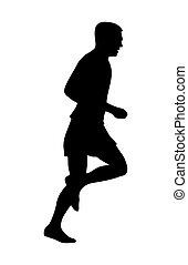 Runner silhouette. Side view. Vector black icon isolated on white