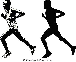 runner sketch and silhouette - vector