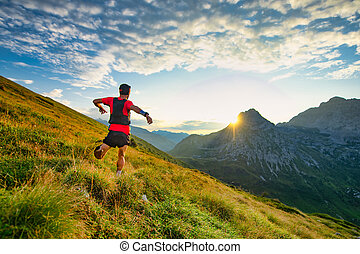 Runner skyrunner on a mountain meadow at dawn
