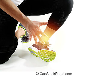 Broken twisted ankle - running sport injury  male runner