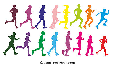 runner - group of male and female runner as colorful...