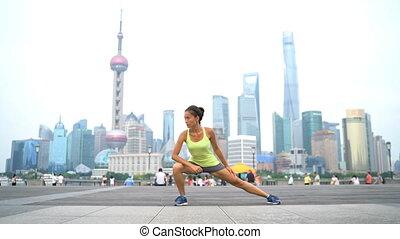Runner stretching after running workout - Runner stretching ...