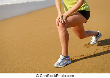 Runner stretching and knee pain