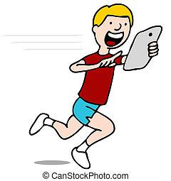 Runner Using His Digital Tablet