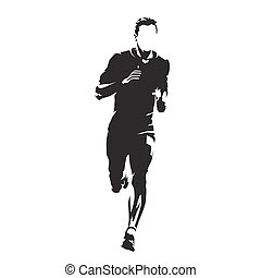 Runner vector silhouette, front view. Abstract running man