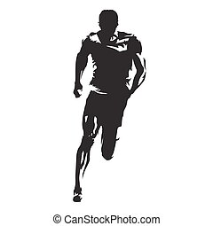Runner vector silhouette, front view of sprinting athlete