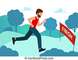 Runner wins the marathon, the finish line. The concept of achieving goals.