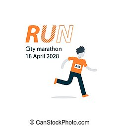 Runner with number on chest, city marathon advertising