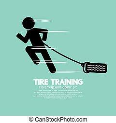 Runner With Tire Training Symbol Vector Illustration