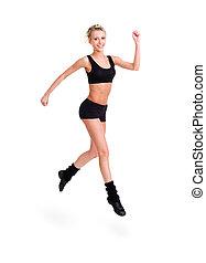 Runner woman isolated. fitness girl jogging.