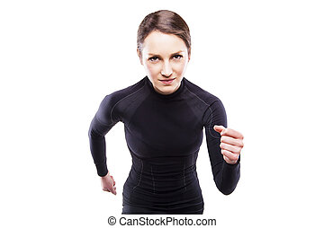 Runner woman isolated. Running fit fitness sport model jogging s