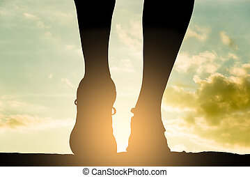 Runner woman silhouette