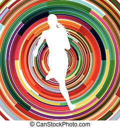 Runner woman silhouette over abstract background vector concept