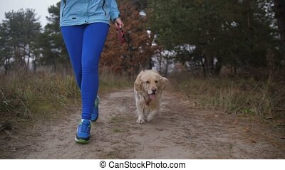 Runner woman with dog on morning jog in nature