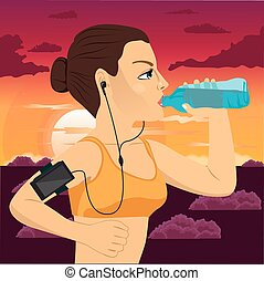 runner woman with smartphone armband drinking bottled mineral water jogging at sunset in park