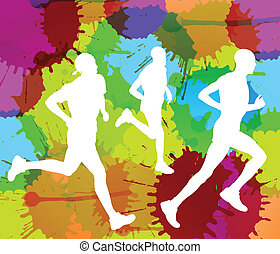 Runners abstract color splash vector background for poster