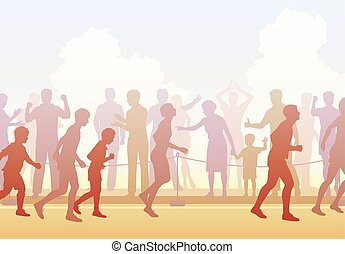 Runners and crowd