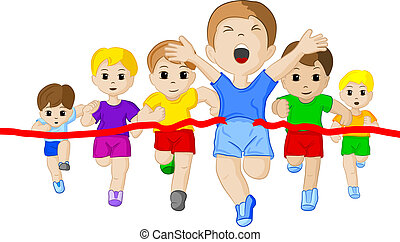 runners and winner - vector illustration of a foot race