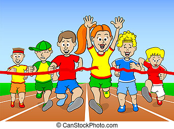 runners and winner - vector illustration of a foot race with...