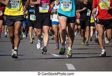 Marathon - Runners compete in a Marathon.