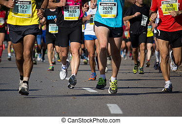 Runners compete in a Marathon.