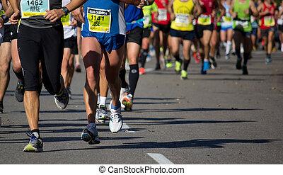 Marathon - Runners compete in a Marathon