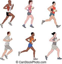 runners, detailed illustration