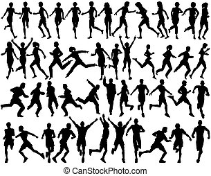 Runners - Set of silhouettes of people running